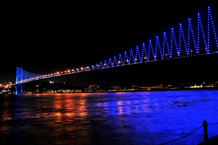 istanbul night: Istanbul Bosporus Bridge Fatih Sultan Mehmet Bridge at the night Stock Photo