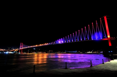 Istanbul Bosporus Bridge Fatih Sultan Mehmet Bridge at the night Stock Photo