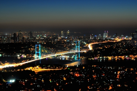Istanbul Bosphorus Bridge at the night, Turkey photo