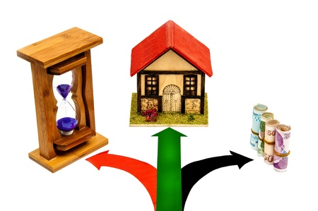 purple hourglass, home, money and signal on white background photo
