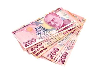 public servants: two hundred Turkish money on a white background Stock Photo