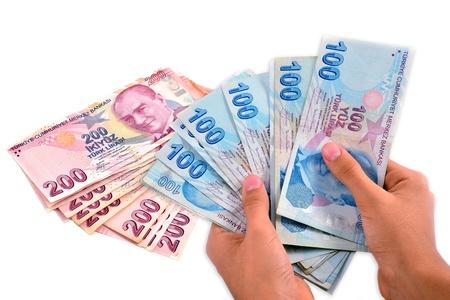 hundred and two hundred Turkish Lira white background Reklamní fotografie