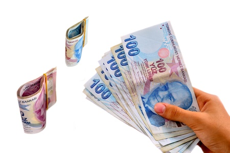 tl: hundred and two hundred Turkish Lira white background Stock Photo