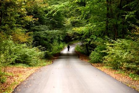 Mann zu Fu� auf der Stra�e zwischen den B�umen im Herbst Lizenzfreie Bilder