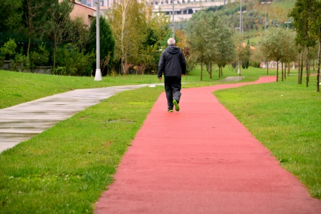 jogging track: adults who walk in the park for health