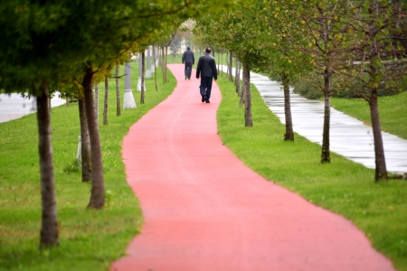 jogging track: The people who walk the trails for hiking Stock Photo