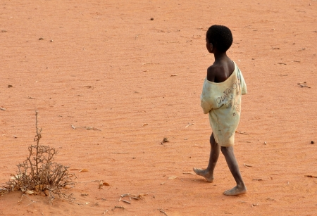 hungry kid:  barefoot African children