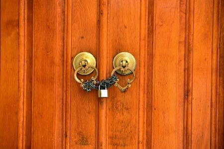 wooden old door and antique door knocker Stock Photo - 17092496