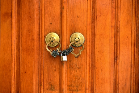 wooden old door and antique door knocker Stock Photo - 17092496