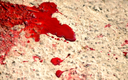 horror background: Messy red stains of blood Stock Photo