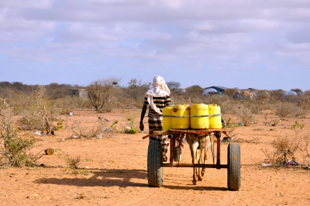 destitute: Somali migrant camp Garissa Kenya water-bearing male