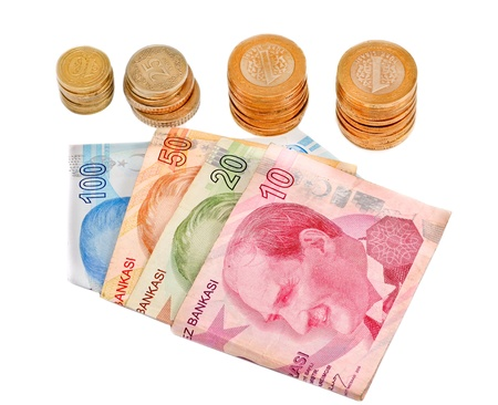 Turkish money on white background photo
