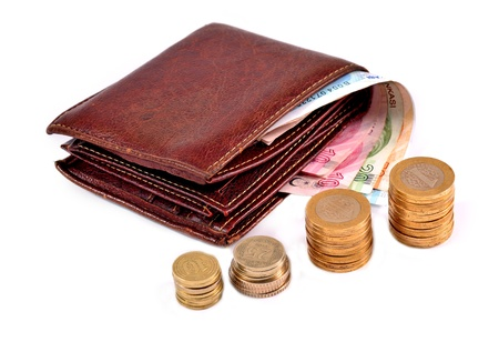 Turkish money and wallet on white background photo