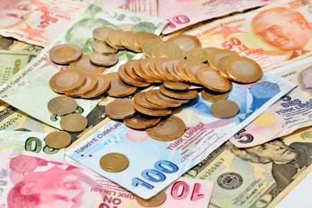 sirvientes: Billetes y monedas en liras turcas Foto de archivo