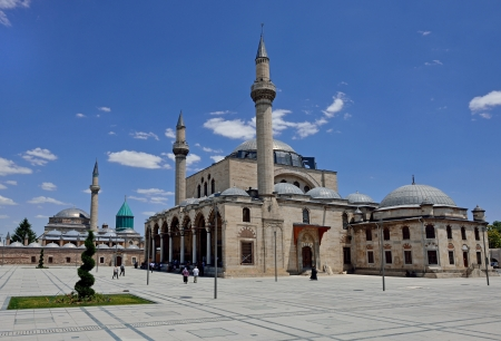 whirling: Selimiye Mosque and Mevlana museum mosque in Konya, Turkey