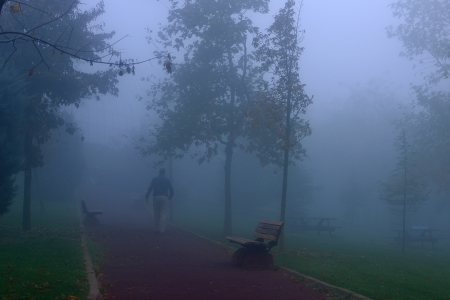 A man walking in the fog on a cold day in the park