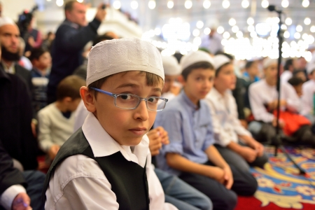 ISTANBUL, TURKEY - OCTOBER 6  Fatih Mosque to pray for the kids on October 6, 2013 in Istanbul  Held in Istanbul Fatih Mosque  I turned to prayer, I begin 7  is about 7 thousand children participated in the program  Editorial