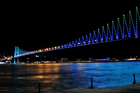 bosphorus bridge at the night, istanbul Turkey photo