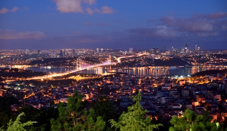 istanbul night: bosphorus bridge at the night, istanbul Turkey