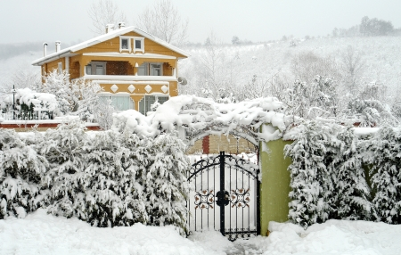 winter landscape and rural homes in the area