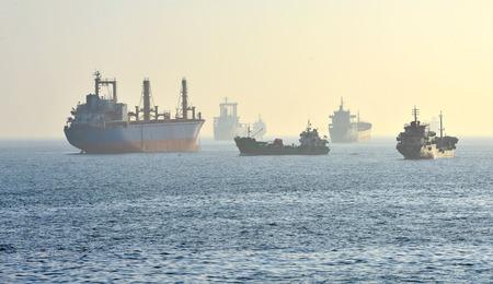 tanker ship: sea cargo ship and oil tanker in the fog