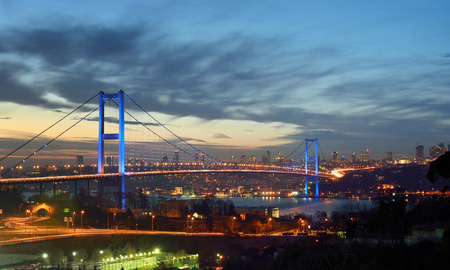 istanbul night: bosphorous bridge at the night, istanbul Turkey