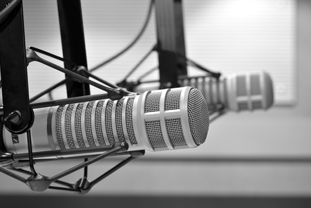 radio studio microphone Stock Photo