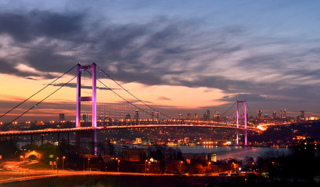 bosphorous bridge at the night, istanbul Turkey