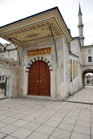 ISTANBUL, TURKEY - MARCH 29  Fatih mosque just made   8203;  8203;for the introduction of the sultan, the sultan s door on March 29, 2014 in Istanbul, Turkey  The door was made for Sultan of Sultans security