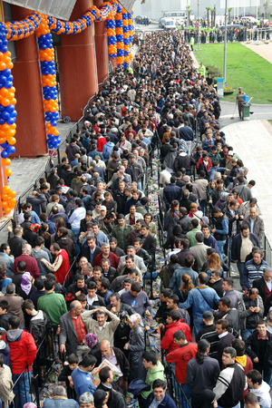 ISTANBUL, TURKEY - OCTOBER 29  Technology markets Saturn thousands of people waiting for the opening of a section on 29 September 2009, in Istanbul Turkey   Editorial
