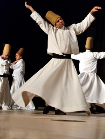 ISTANBUL, TURKEY - DECEMBER 14  Sufi whirling dervish  Semazen  dances, Commemoration of Mevlana Jalaluddin Rumi on December 14, 2013 in Istanbul  Semazen conveys God