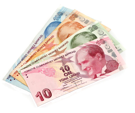 turkish lira: Turkish lira banknotes isolated Stock Photo