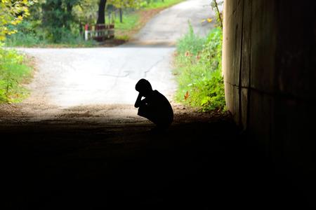 desolation: head in the tunnel waiting hands of underprivileged children alone