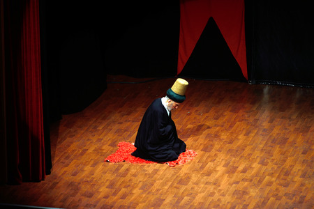 civilizing: ISTANBUL, TURKEY - DECEMBER 20: Sufi whirling dervish (Semazen) grandparents, sema show manages the