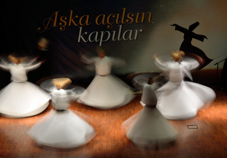 commemoration: ISTANBUL, TURKEY - DECEMBER 20: Sufi whirling dervish (Semazen) dances, Commemoration of Mevlana Jalaluddin Rumi on December 20, 2014 in Istanbul. Semazen conveys God