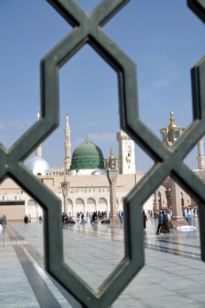 ksa: MEDINA, KINGDOM OF SAUDI ARABIA (KSA) - JAN 30: Iron railings behind the mosque of the Prophet Muhammad on January 30, 2015 in Medina, KSA. Prophet