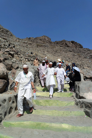 the prophets: MECCA, SAUDI ARABIA - FEBRUARY 3 : Cebel-i Nur in the mountains, caves returning from visiting Muslims of Hira on February 3, 2015. It was here that the first occurrence of revelation to Prophet Muhammad.
