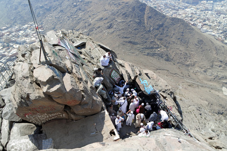 occurrence: MECCA, SAUDI ARABIA - FEBRUARY 3 : Muslims awaiting their turn to perform prayers at the cave of Hira on February 3, 2015. It was here that the first occurrence of revelation to Prophet Muhammad. Editorial