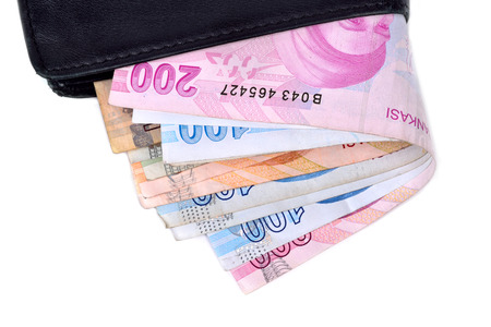 turkish lira: Turkish lira banknotes in a wallet isolated