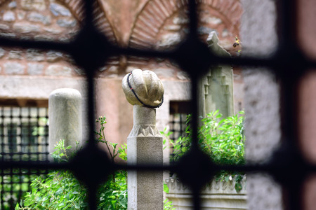 corpses: ISTANBUL TURKEY  MAY 15: Eyup Sultan historic tombstones in the cemetery of the image 15 May 2015 in Istanbul Turkey. Since 1458 the cemetery to bury corpses are used. Editorial