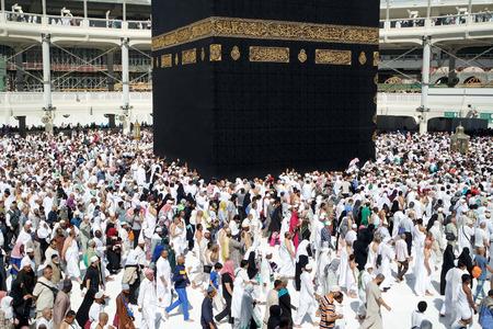 praying together: MECCA SAUDI ARABIA  FEBRUARY 4: Muslim pilgrims from all around the World revolving around the Kaaba on February 4 2015 in Mecca Saudi Arabia. Muslim people praying together at holy place.