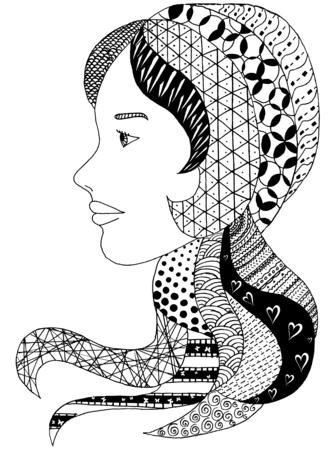 beautiful face of muslim woman, vector illustration Stock Photo