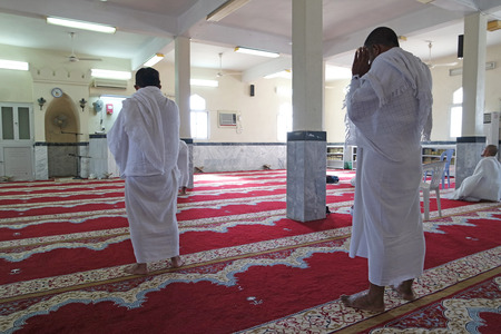 allegiance: MECCA, SAUDI ARABIA - FEBRUARY 4: Hudeybiye the mosque, Muslims praying in the ihram, on February 4, 2015 in Mecca, Saudi Arabia. Hudeybiye mosque, where Muslims are known as nibs Rdvan allegiance to their prophet.