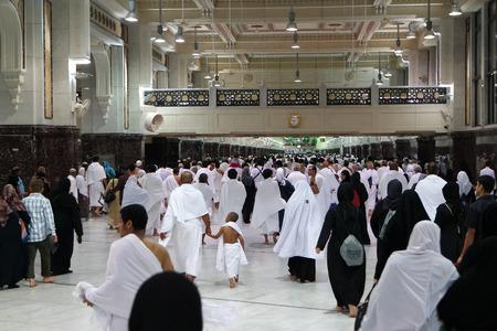 holiest: MECCA - FEB.2: Muslim pilgrims perform saei brisk walking from Safa mount from Marwah mount on February 2, 2015 in Mecca Saudi Arabia. Muslim pilgrims perform 7 rounds of saei from Safa mount to Marwah mount.