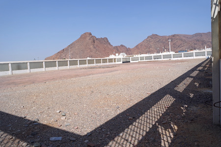 MEDINA, SAUDI ARABIA - JAN 31:  Cemetery containing graves of Muslims who were killed in the Battle of Uhud on January 31, 2015 in Medina, KSA. Martyrs cemetery in Jabal Uhud, 70 funeral of martyrs in a war to defend Islam. Among them are the Prophet Muha