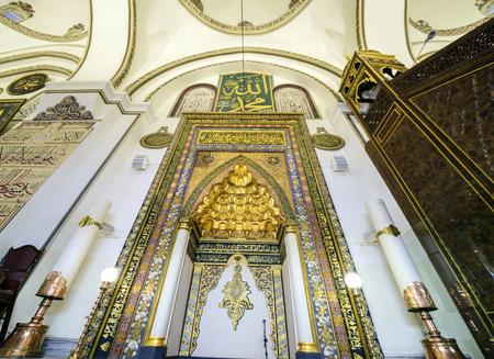 ornamentation: BURSA, TURKEY - JANUARY 13: Ornamentation mihrab in grand mosque ulu camii on January 13, 2016 in Bursa, Turkey. Great Mosque is the largest mosque in Bursa. The name of the altar where the imam leads the prayers