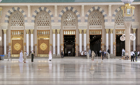 worshiped: MEDINA, KINGDOM OF SAUDI ARABIA (KSA) - FEB 01:  A general view of the entrance gate of Masjid prophet on February 01, 2015 in Medina, KSA. Prophet mosque is considered the second holiest site in Islam.