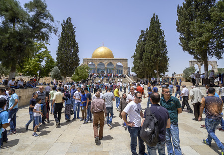 historic world event: JERUSALEM, ISRAEL - JUNE 3: After Friday prayers in Al-Aqsa mosque from the Muslims on June 3, 2016, Jerusalem, Israel. Al Aksa is the third holiest place of Islam after Meccah and Medina.