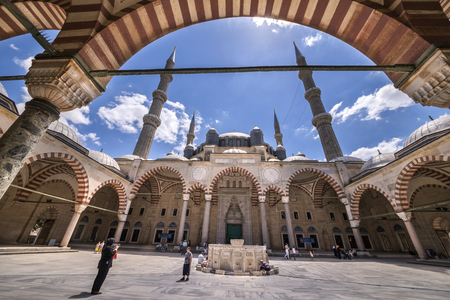 selimiye mosque: EDIRNE, TURKEY - JULY 12, 2016: Yard of Selimiye Mosque built in 1575 by Architect Sinan with the request of Suleyman the Magnificent on July 12, 2016 in Edirne, Turkey. Editorial