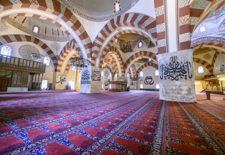 edirne: EDIRNE - TURKEY, JULY 12:Interior of the Edirne Old Mosque on july 12, 2016. The Old Mosque is an early 15th century Ottoman mosque in Edirne, Turkey Editorial